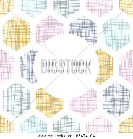 Abstract colorful honeycomb fabric textured frame seamless pattern background