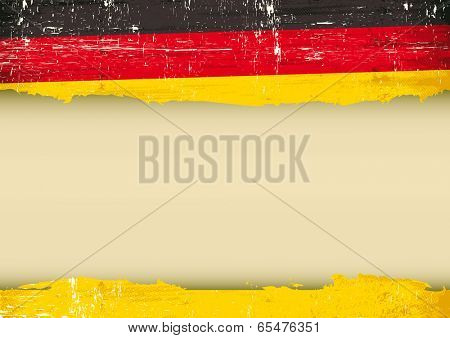 German scratched flag. A German flag with a large frame for your message. Ideal to use for a screen