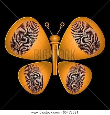 Guitar Picks and String Peg Butterfly Graphic