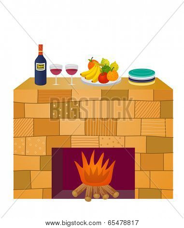 The view of foods on the chimney piece