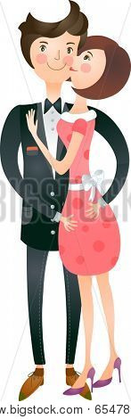 The view of couple is kissing a cheek
