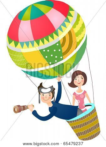 The view of couple in the hot-air balloon