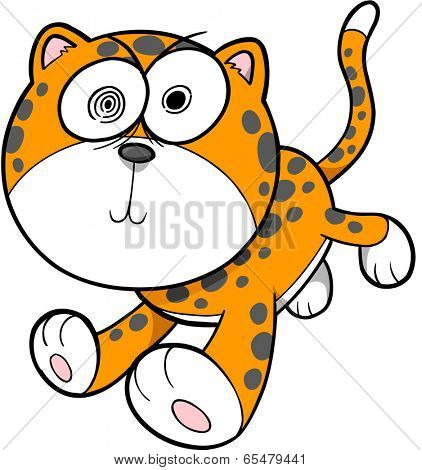 Crazy Insane Leopard Vector Illustration