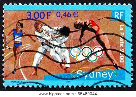 Postage Stamp France 2000 Relay Racer, Judo, Diving
