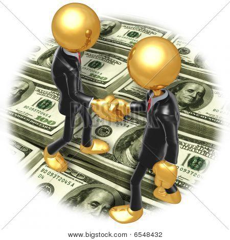 Gold Guy Business Handshake