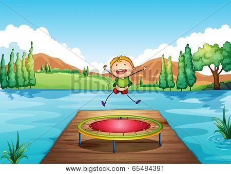 Illustration of a boy playing with the trampoline at the river