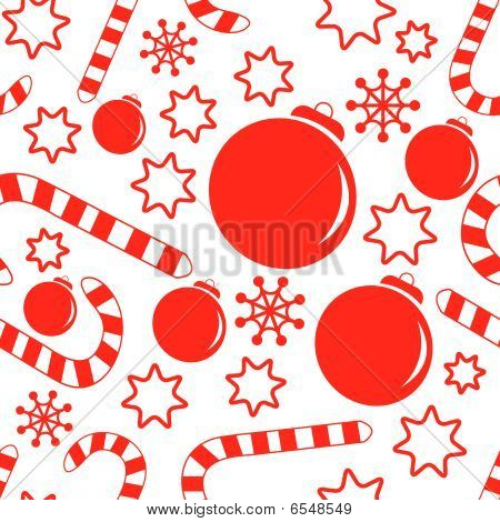 Seamless pattern with christmas decorations, candy canes, snowflakes and stars