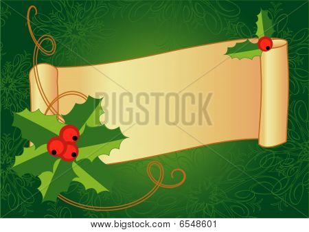 Christmas banner with holly, berries and vintage scroll