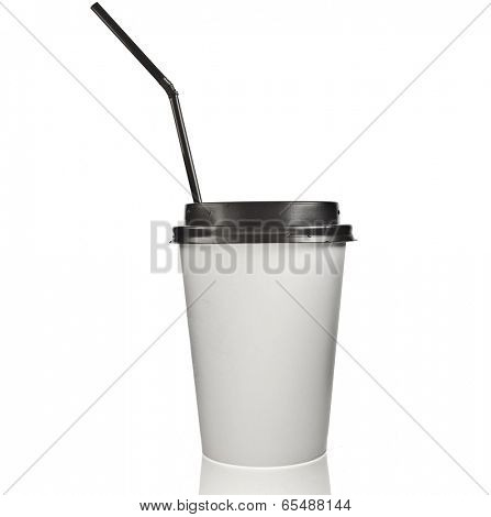 Take-out coffee in Disposable thermo cup. with black straw Isolated on a white  background
