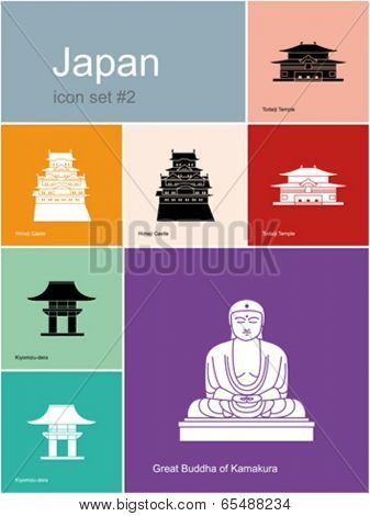 Landmarks of Japan. Set of flat color icons in Metro style. Editable vector illustration.