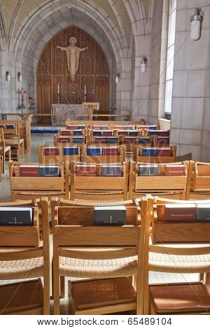 Chairs And Bibles In The Church.