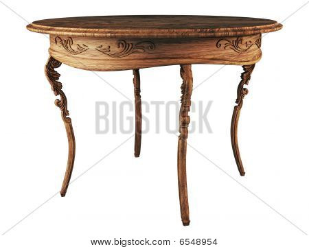 Round Wooden Antique Table 3D