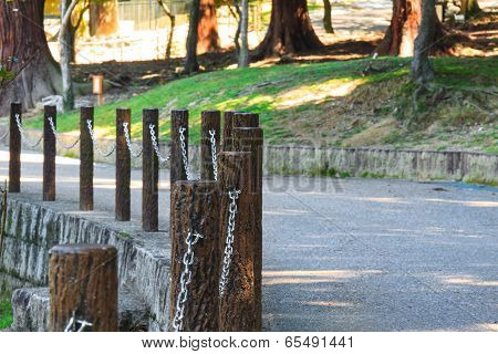 Small Steet Wirh Fence In The Park