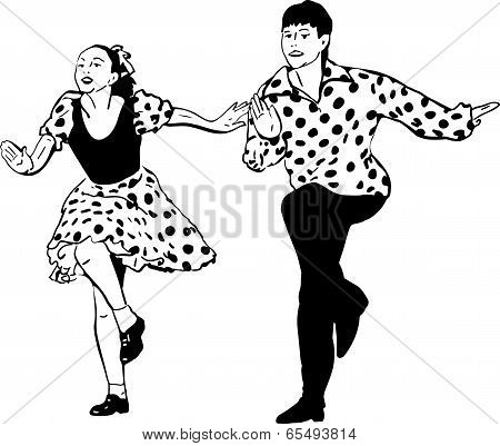 Guy With A Girl Dancing Rock And Roll
