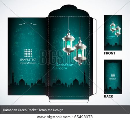 Vector 3D Muslim Pelita Oil Lamp Ramadan Money Green Packet Design. Translation: Ramadan Kareem - May Generosity Bless You During The Holy Month.