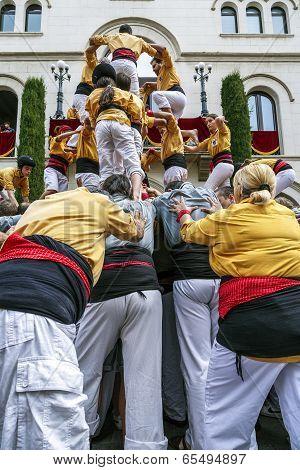 Castellers In Fira Arrop Badalona