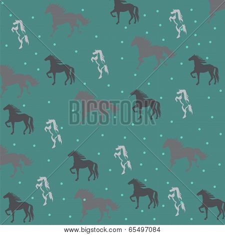 green background with horses.