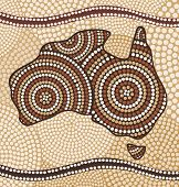 stock photo of aborigines  - Map of Australia painting in the Aboriginal style - JPG