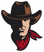 image of raider  - Illustration of a cowboy head with hat and scarf - JPG