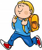 stock photo of knapsack  - Cartoon Illustration of Primary School Student Boy with Knapsack - JPG