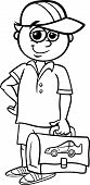 picture of knapsack  - Black and White Cartoon Illustration of Elementary School Student Boy with Pack for Coloring Book - JPG