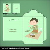 stock photo of hari raya aidilfitri  - Vector Muslim Boy Praying Hari Raya Ramadan Money Green Packet Design - JPG