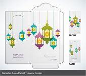 stock photo of hari raya  - Vector Muslim Oil Lamp Elements Ramadan Money Green Packet Design - JPG