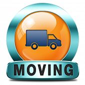 stock photo of moving van  - Moving or relocation icon a van or truck to relocate to other house or location a button or icon - JPG