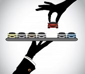 stock photo of trays  - hand silhouette choosing the best red car from car dealer agent  - JPG