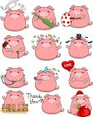 stock photo of pig  - Illustration Featuring a Cute Set of Pigs - JPG