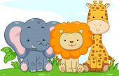 stock photo of mammal  - Illustration Featuring Cute Baby Safari Animals - JPG