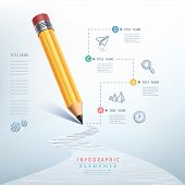 picture of pencils  - creative infographics template with pencil puzzle and education icons - JPG