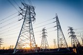 stock photo of power transmission lines  - Electric tower - JPG