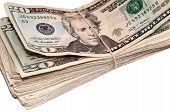 image of twenty dollars  - Stack of American twenty dollar bills - JPG