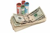 pic of twenty dollars  - Stack of American twenty dollar bills and rolls of USA coins - JPG