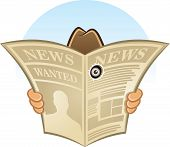 picture of animated cartoon  - Cartoon Vector Illustration of secret spy detective hidden behind newspaper looking through a hole - JPG