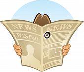 pic of animated cartoon  - Cartoon Vector Illustration of secret spy detective hidden behind newspaper looking through a hole - JPG