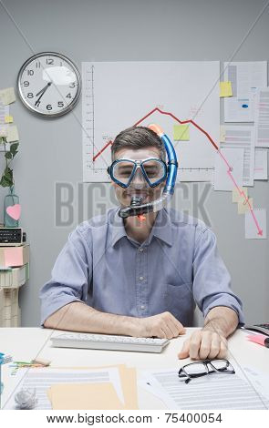 Office Worker Wearing Scuba Mask