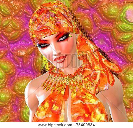 An orange head scarf is worn by a beautiful woman