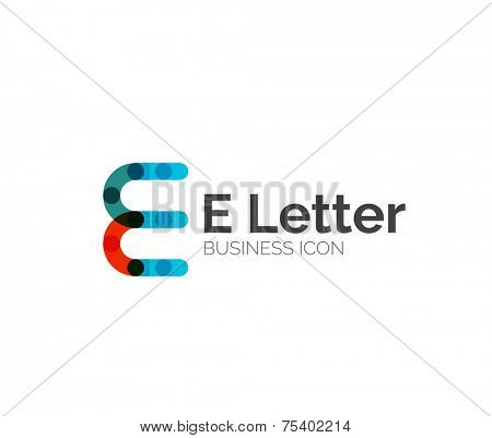 E letter logo, minimal line design, business icon