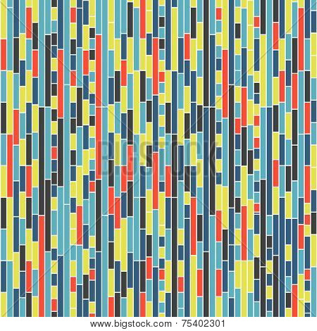 Seamless Geometric Pattern with Colorful Rectangles. Vector Background