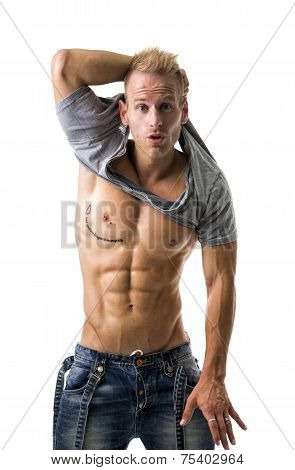 Handsome Young Athletic Man Showing Sexy Abs