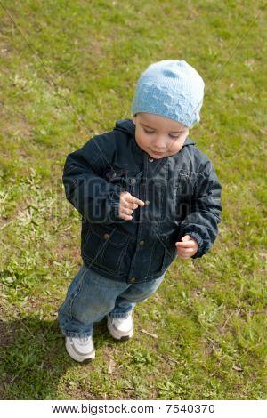Little boy walking on the spring meadow