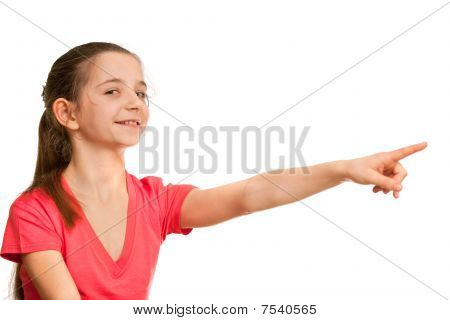 Pointing Forward Girl In Red