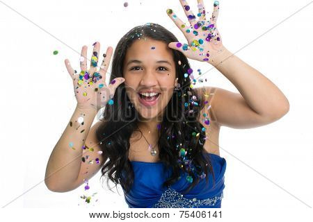Teenage girl in prom dress with glitter