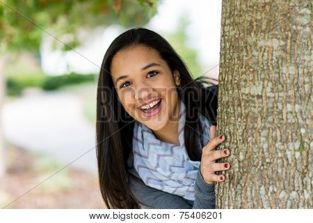 Teenage girl pictured standing in her yard