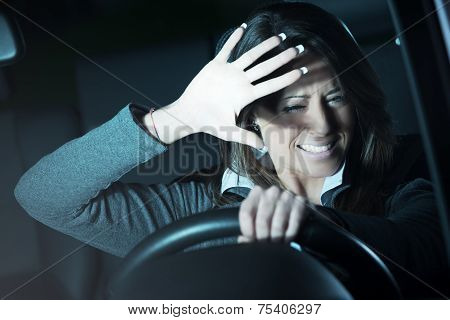 Woman Having A Car Accident