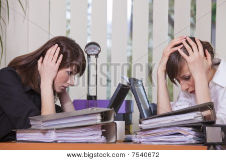 Frustrated Businesswomen By Work