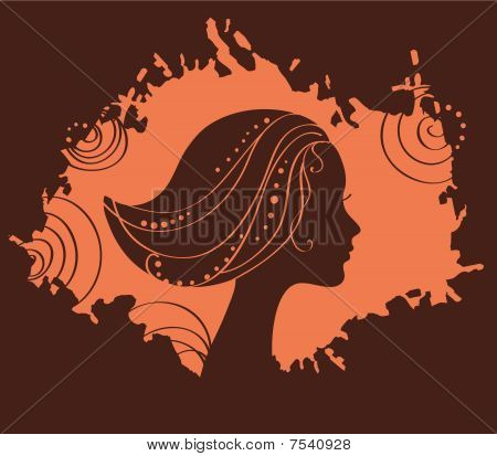 beauty girl silhouette vector illustration