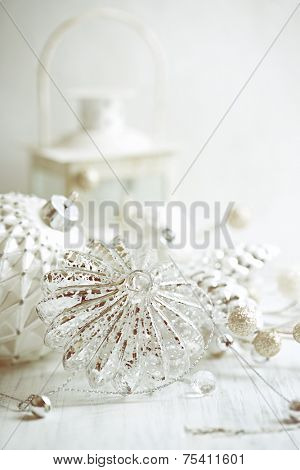 Vintage Christmas decorations in white